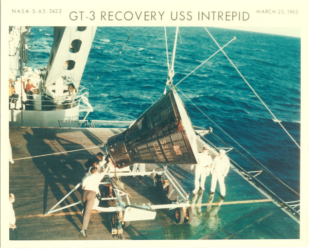 Photograph of Gemini 3 Recovery on the U.S.S. Intrepid