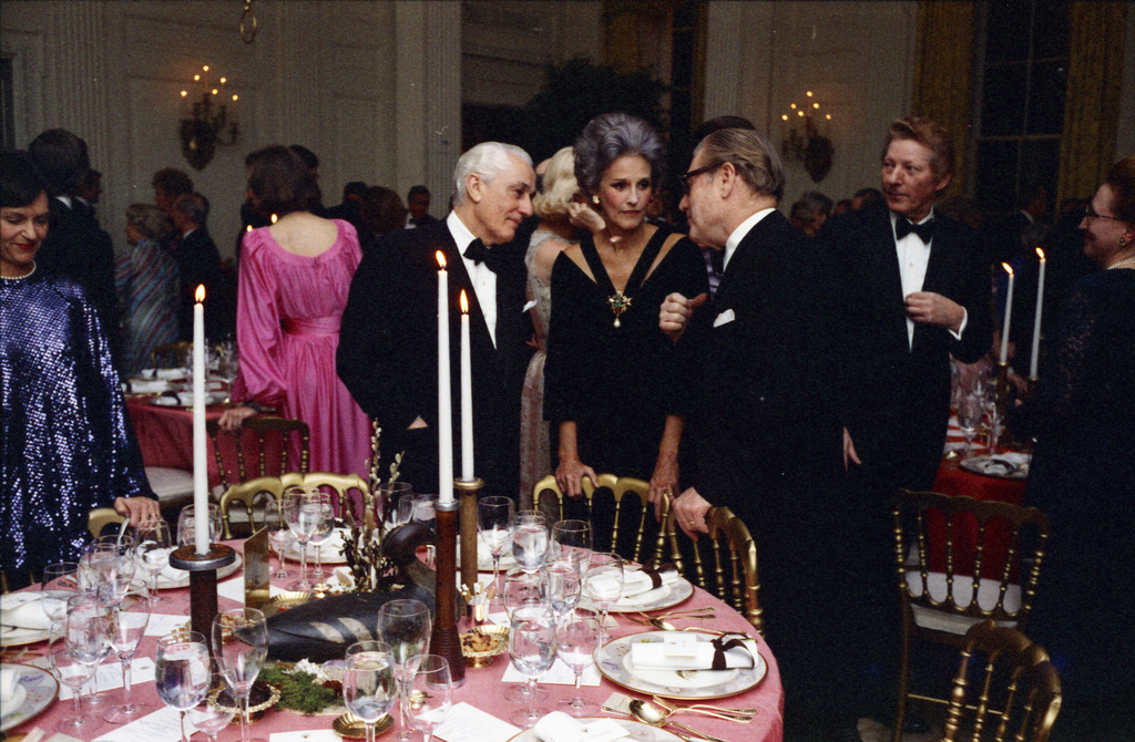 Photograph of Danny Kaye and Other Guests in the State Dining Room prior to a State Dinner Honoring Prime Minister Harold Wilson of Great Britain