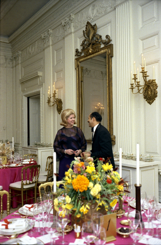Photograph of White House Social Secretary Nancy Ruwe and a White House Butler in the State Dining Room Prior to a State Dinner Honoring the Prime Minister of Pakistan