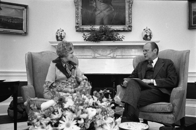 President Gerald R. Ford Meeting with Virginia Knauer, Special Assistant for Consumer Affairs, in the Oval Office