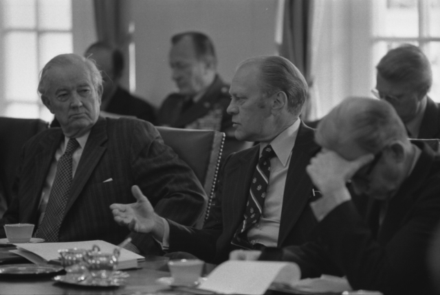 President Gerald R. Ford Meeting with Members of the Senate Foreign Relations Committee to Discuss Aid to Cambodia and Vietnam in the Cabinet Room
