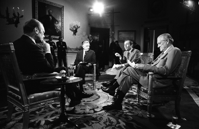 Journalists Walter Cronkite, Eric Sevareid, and Bob Schieffer Interviewing President Gerald R. Ford in the Blue Room