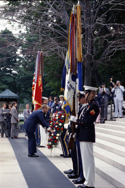 President Gerald R. Ford Placing a Wreath at the Base of the Tomb of the Unknown Soldier at Arlington National Cemetery in Virginia on Memorial Day