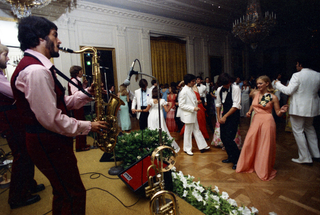 Susan Ford, Her Classmates, and Their Dates Dancing While the Band Sandcastle Plays at the Holton-Arms Senior Prom Held at the White House