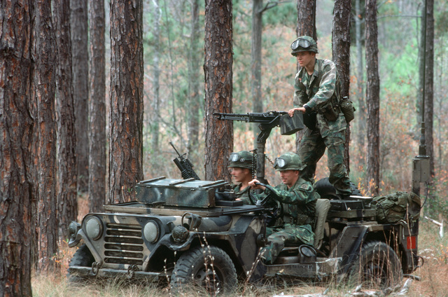Members of the 82nd Airborne Division operate an M151A1 light vehicle fitted with an M60 machine gun