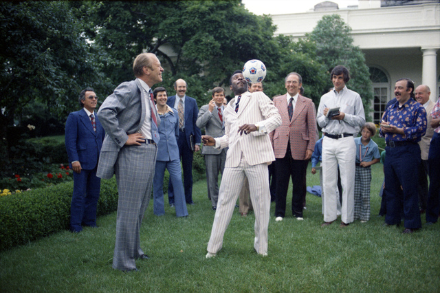 President Gerald R. Ford Watching Pele Head a Soccer Ball in the Rose Garden