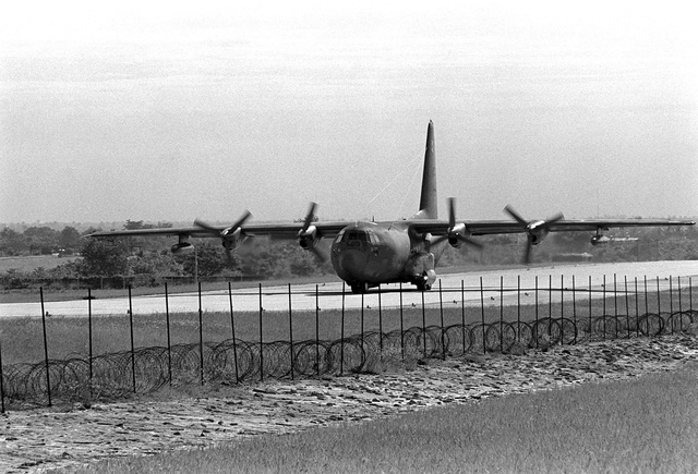A left front view of an AC-130A Hercules aircraft as it taxis out. Five remaining AC-130A's of the 16th Special Operations Squadron are being redeployed from Thailand to the United States