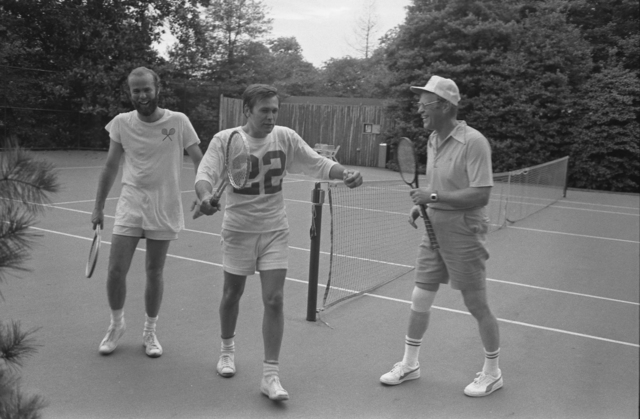 Photograph of President Gerald Ford, Chief of Staff Donald Rumsfeld, and David Kennerly, Personal Photographer to the President, following a Tennis Match on the White House Tennis Courts