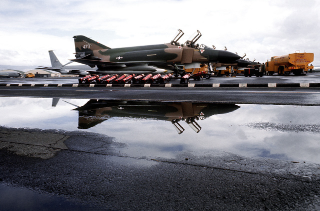 A right front view of an F-4 Phantom II aircraft on a ramp while on a rest stop during Coronet Slice, the redeployment of F-4's of the 34th Tactical Fighter Squadron from Korat Royal Thai Air Force Base, Thailand, to the United States because of a reduction in forces