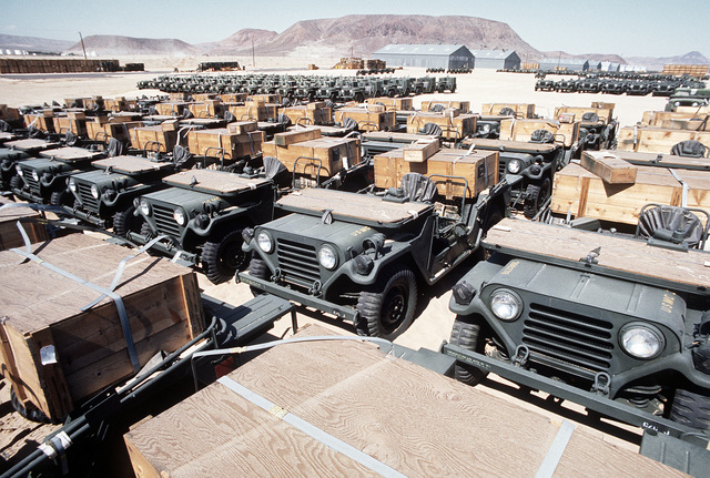 Marine Corps jeeps parked prior to their acquisition by the Air National Guard (ANG) in an acquisition and rehabilitation project that will save the Air Force about seven million dollars