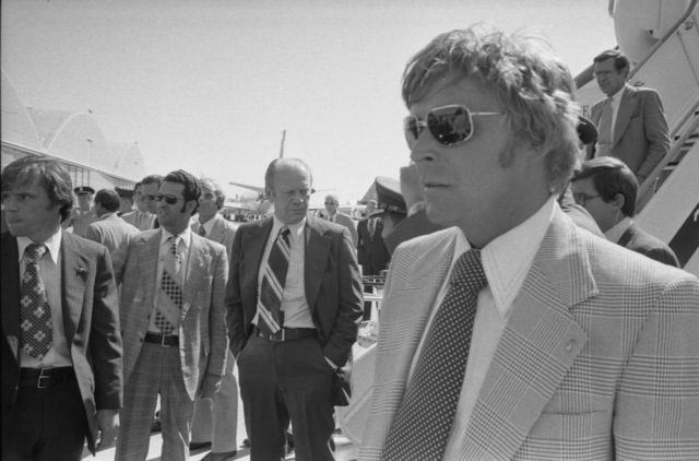 """Photograph of President Gerald R. Ford Waiting to Board Air Force One at  McClellan Air Force Base after the Assassination Attempt by Lynette """"Squeaky""""  Fromme in Sacramento, California"""