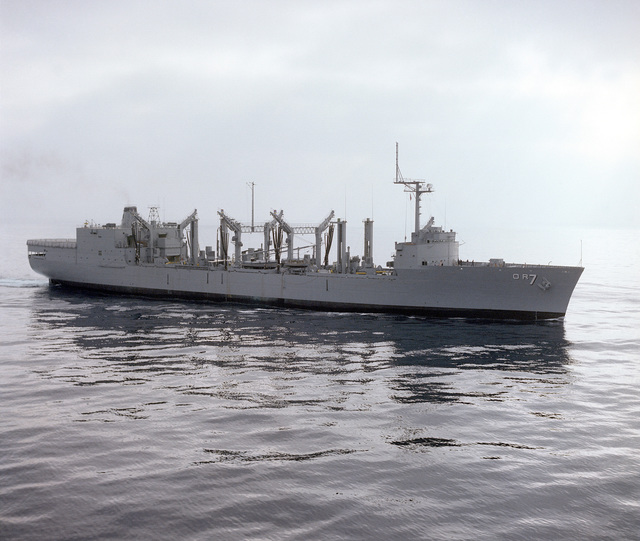 A starboard view of the replenishment oiler ROANOKE (AOR 7) off San Diego, California, en route to Long Beach, California, for its commissioning