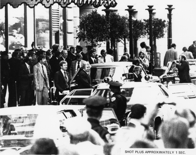Photograph of Scene outside the St. Francis Hotel Approximately One Second after Sara Jane Moore Attempted to Assassinate President Gerald R. Ford in San Francisco, California