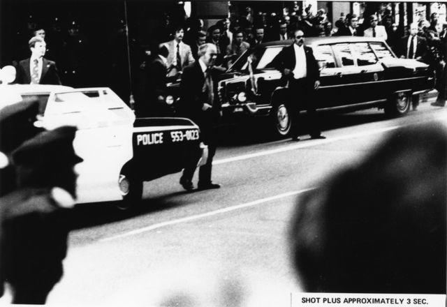 Photograph of Scene outside the St. Francis Hotel Approximately Three Seconds after Sara Jane Moore Attempted to Assassinate President Gerald R. Ford in San Francisco, California