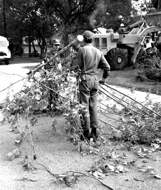U. S. Air Force personnel, from the 823rd Civil Engineering Squadron (CES) assigned to Tactical Air Command (TAC) 9th Air Force, use backbone and heavy equipment to clear fallen trees during post-Hurricane Elloise cleanup operations. The 823rd CES is a Rapid Engineering Deployable Heavy Operations Squadron, Engineer (Red Horse)