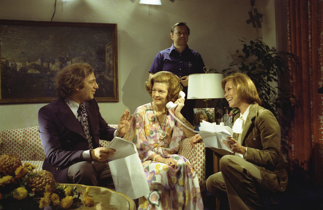 Photograph of First Lady Betty Ford Receiving Guidance from Co-producer Ed Weinberger and Mary Tyler Moore during the Filming of Her Cameo Appearance for an Episode of the Mary Tyler Moore Show at the Hay-Adams Hotel in Washington, DC