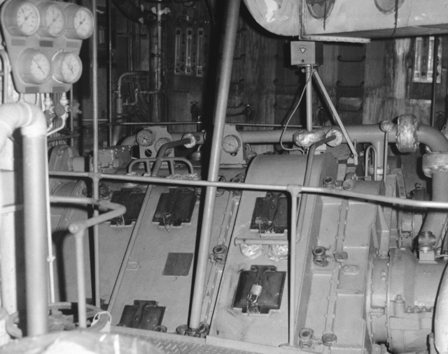 Ionian Sea.  A view of the undamaged No. 2 engineroom reduction gear aboard the guided missile cruiser USS BELKNAP (CG 26).  The BELKNAP was heavily damaged and caught fire when it collided with the aircraft carrier USS JOHN F. KENNEDY (CV 67) during night operations on November 22, 1975