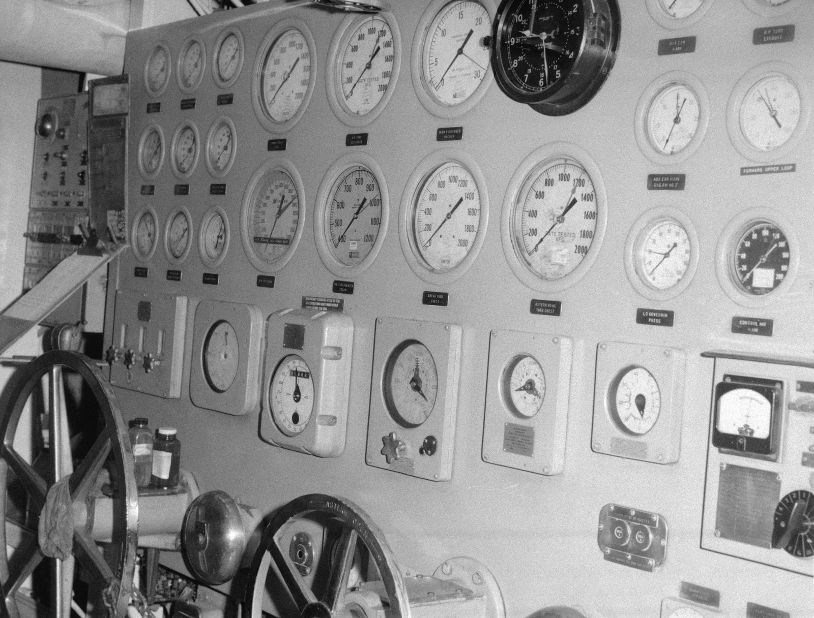 Ionian Sea.  A view of undamaged No. 1 engineroom control board aboard the guided missile cruiser USS BELKNAP (CG 26).  The BELKNAP was heavily damaged and caught fire when it collided with the aircraft carrier USS JOHN F. KENNEDY (CV 67) during night operations on November 22, 1975
