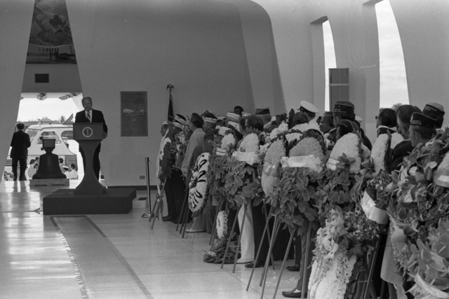 President Gerald R. Ford at a Wreath Laying Ceremony at USS Arizona Memorial in Honor of Those Americans Killed on December 7, 1941 in the Japanese Attack on Pearl Harbor, Hawaii