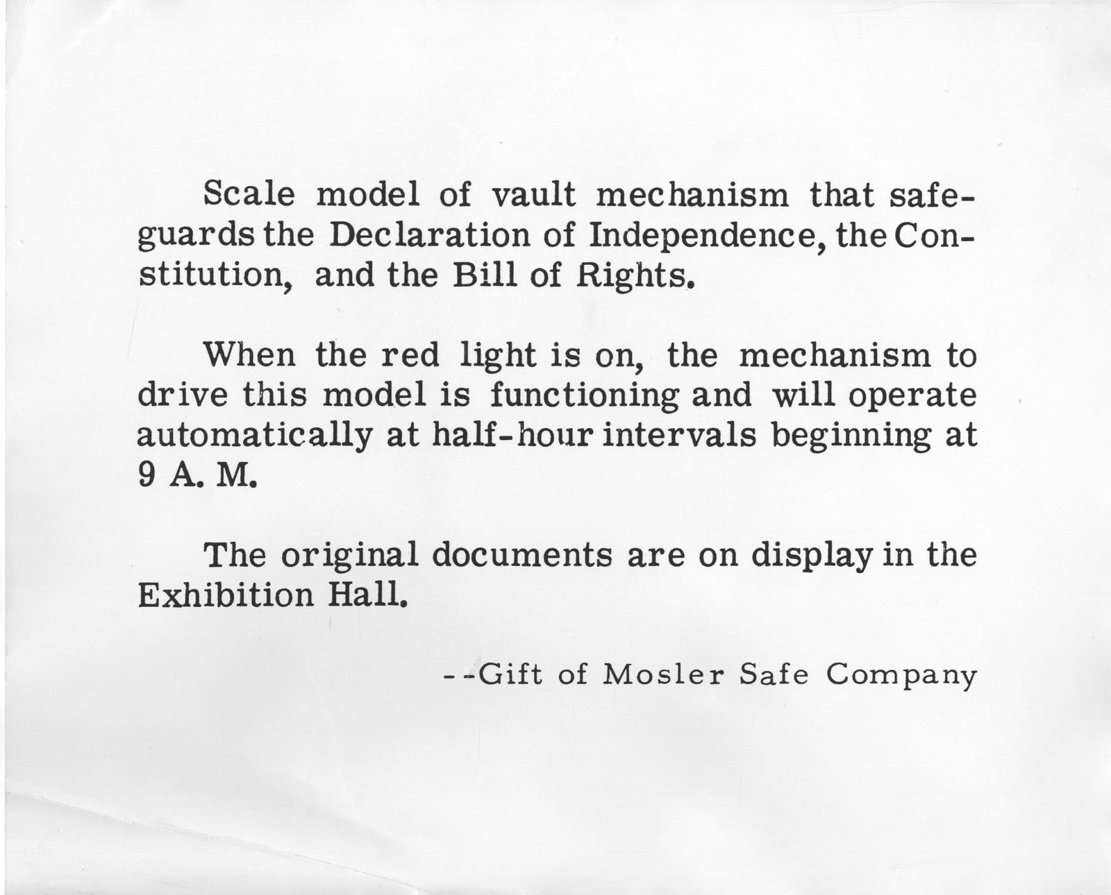 Photograph of Caption For Charters of Freedom Display Scale Model