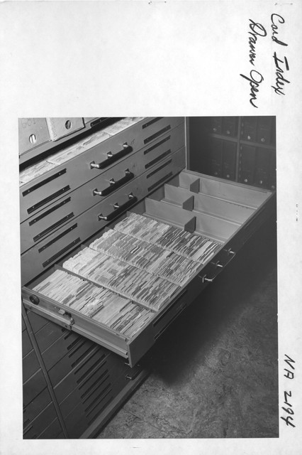 Photograph of Card Index Drawer Open