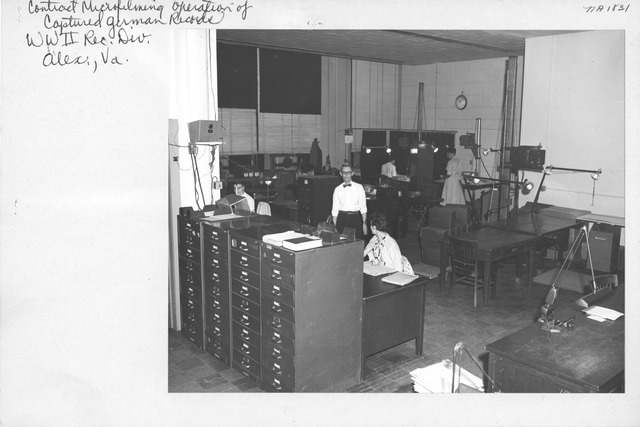 Photograph of Contract Microfilming Operation of Captured German Records, World War II Records Division, Alexandria, Virginia