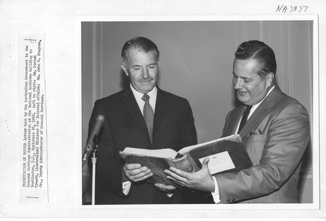 Photograph of Donation of Hoover Letter Book to GSA