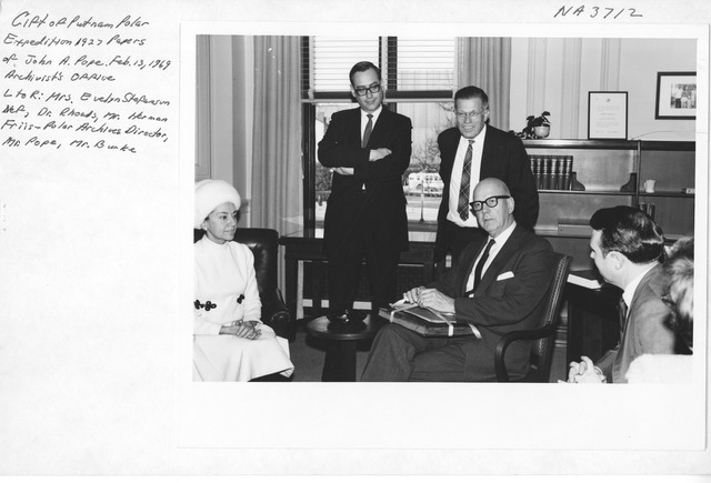 Photograph of Donation of Putnam Polar Expedition Papers
