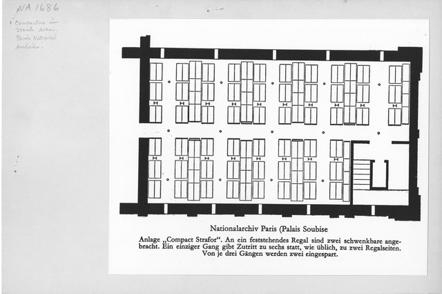Photograph of Interior Plan of Stack Area, Paris National Archives (Palais Soubise)