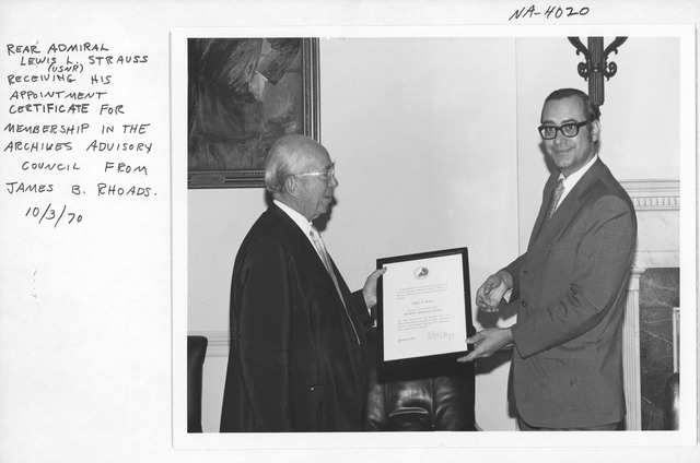 Photograph of Lewis Strauss's Appointment to Archives Advisory Council