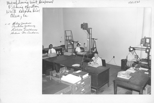 Photograph of Microfilming Unit Disposal Filming Operation, World War II Records Division, Alexandria, Virginia