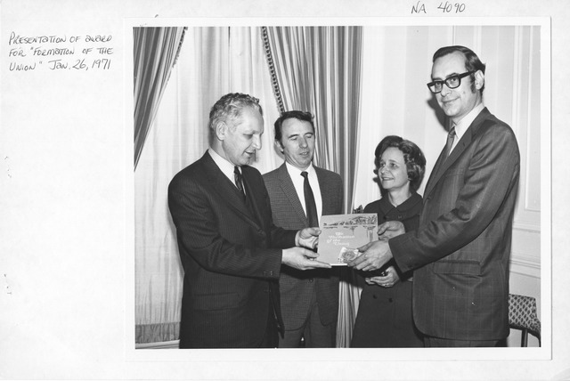 Photograph of Presentation of Award for Formation of the Union, James B. Rhoads, Archivist of the United States