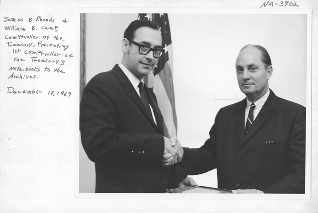 Photograph of Presentation of the First Comptroller of the Treasury's Notebooks to the Archives