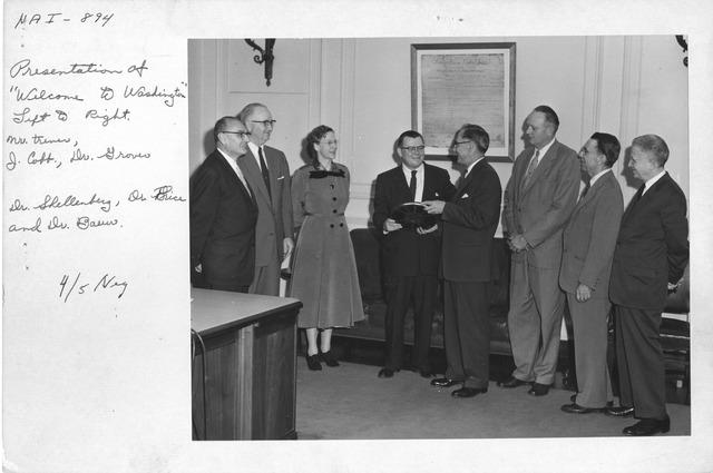 "Photograph of Presentation of ""Welcome to Washington"""