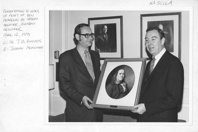 Photograph of Presentation to NARS of Benjamin Franklin Print