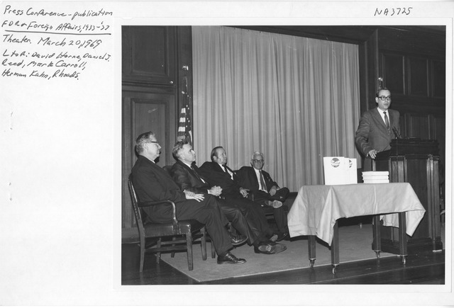 Photograph of Press Conference for Publication of Franklin D. Roosevelt and Foreign Affairs, 1933-1937