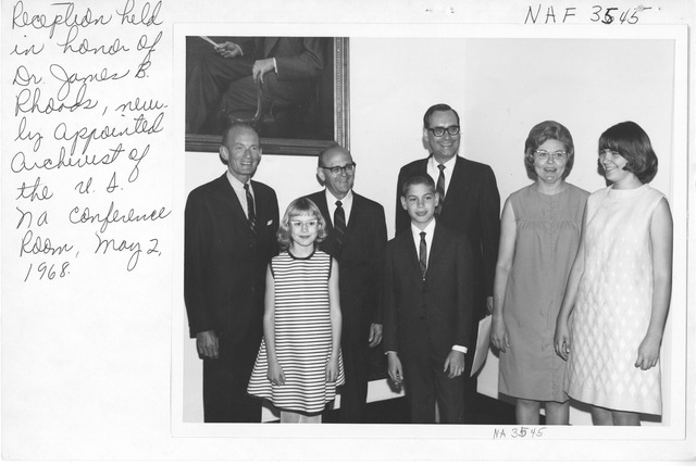Photograph of Reception Held for Newly Appointed Archivist of the U.S. James B. Rhoads