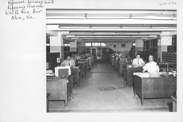 Photograph of Reference Service Unit, Reference Branch, World War II Records Division, Alexandria, Virginia
