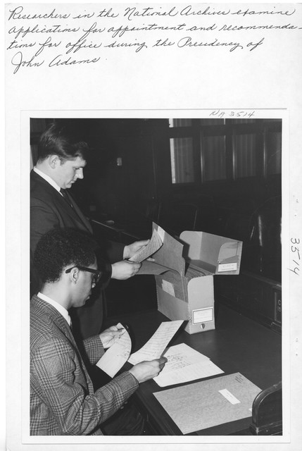 Photograph of Researcher in National Archives Building,  Washington, D.C.