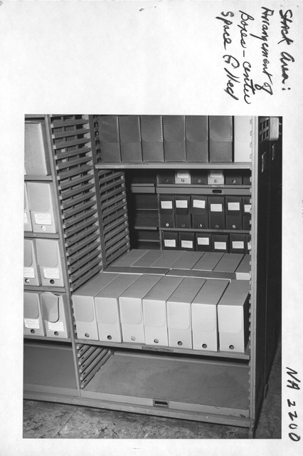 Photograph of Stack Area Arrangement of Boxes, Center Space Filled