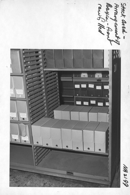 Photograph of Stack Area: Arrangement of Boxes, Front Row Filled