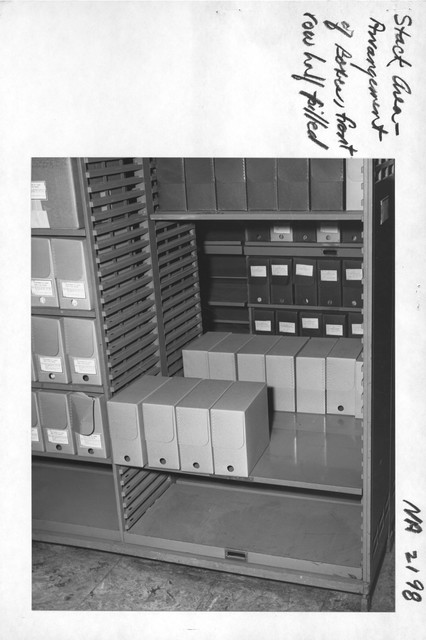 Photograph of Stack Area Arrangement of Boxes, Front Row Half Filled
