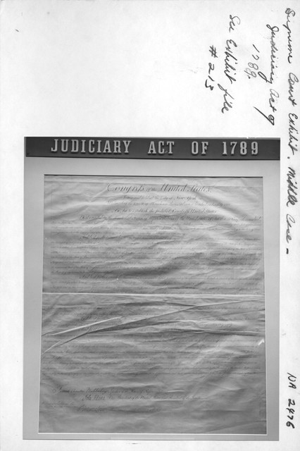 Photograph of Supreme Court Exhibit Middle Case, Judiciary Act of 1789