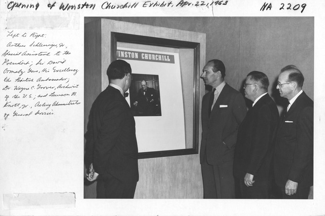 Photograph of the Opening of the Winston Churchill Exhibit