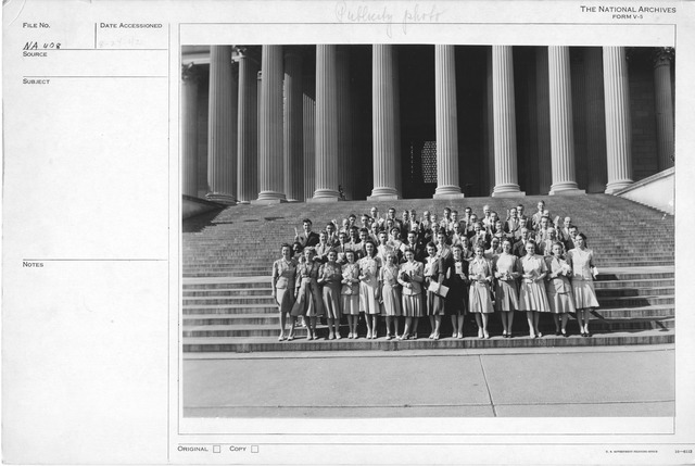 Photograph of Women on the Steps of the National Archives Building