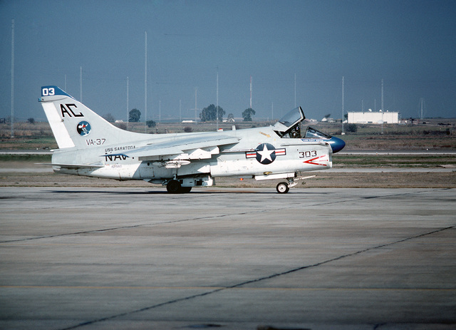 An A-7E Corsair II aircraft from Attack Squadron 37 (VA-37) taxis on the flight line