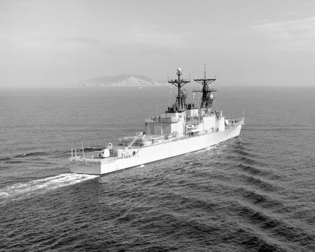 A starboard quarter view of the destroyer USS PAUL F. FOSTER (DD 964) underway near San Diego