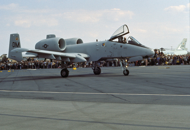 The first operational A-10 Thunderbolt II aircraft arrives at the base to be officially turned over to the Tactical Air Command