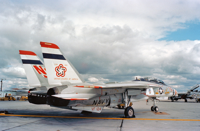A right rear view of a Fighter Squadron 124 (VF-124) F-14 Tomcat aircraft parked on the flight line.  The aircraft has been painted in a Bicentennial theme