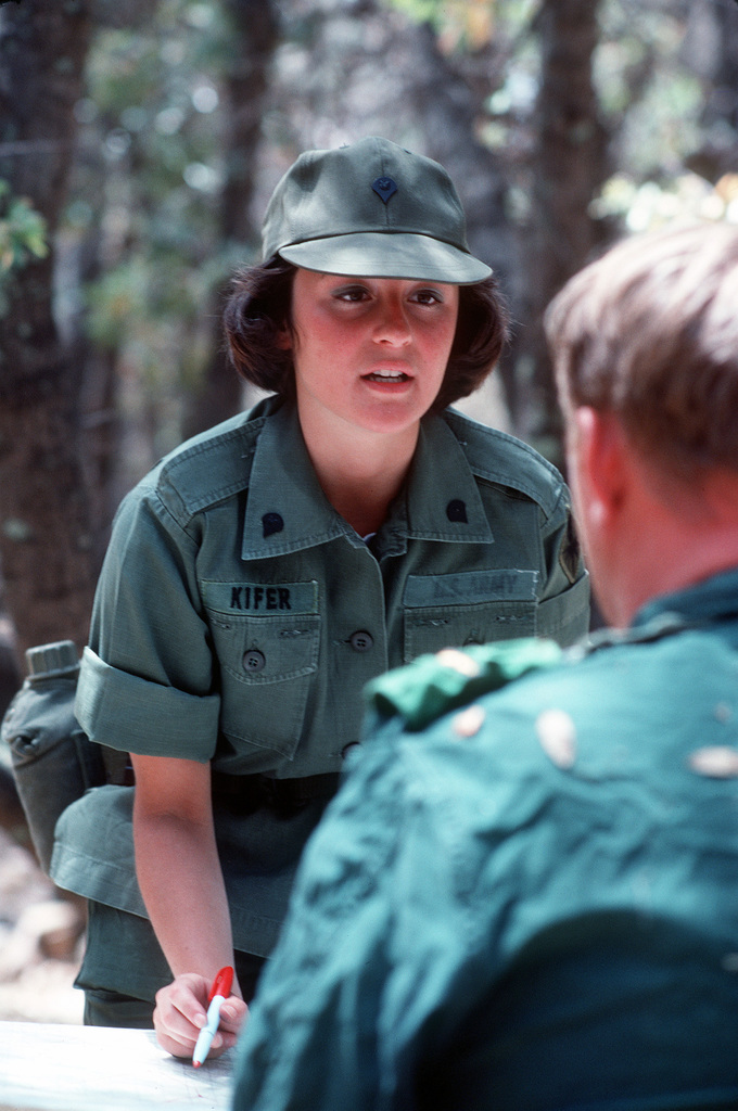 A Us Army Military Policewoman Acts As An Interrogator At A